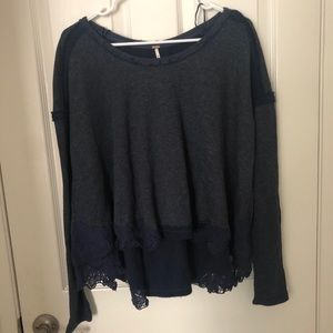 Hi-Low Lace Trim Sweater